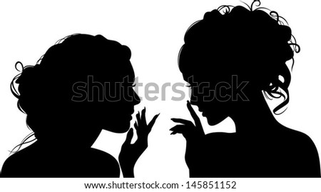Silhouettes of vector girls, gossips