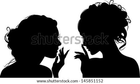 Silhouettes of vector girls, gossips - stock vector