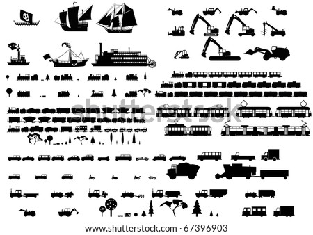Silhouettes of vehicles - stock vector