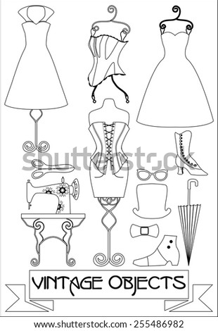 silhouettes of vintage fashion objects, black and white vector illustration - stock vector