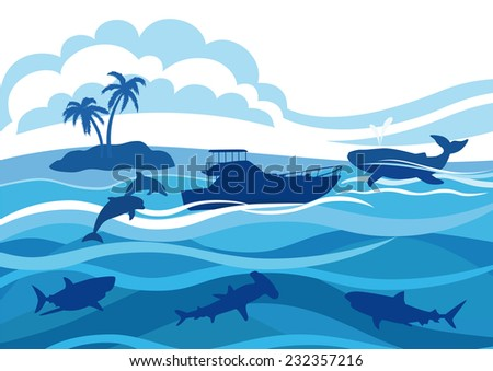 Silhouettes of voyage, whale, sharks, dolphins, island with palm trees against the sea and clouds.