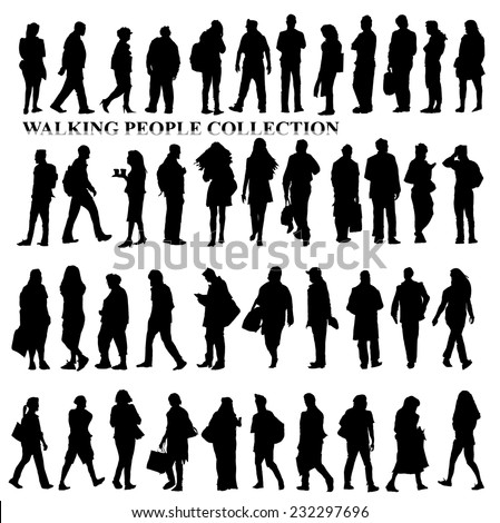 Silhouettes of walking people, caring bags, talking on the phone etc - stock vector