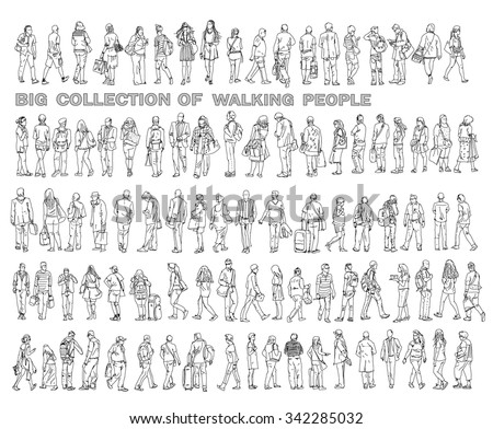 Silhouettes of walking people, carrying bags, talking on the phone etc. Sketch collection - stock vector