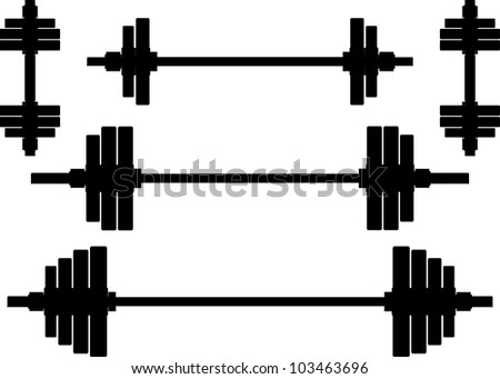 silhouettes of weights. second variant. vector illustration - stock vector