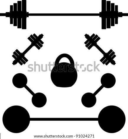 silhouettes of weights. vector illustration - stock vector