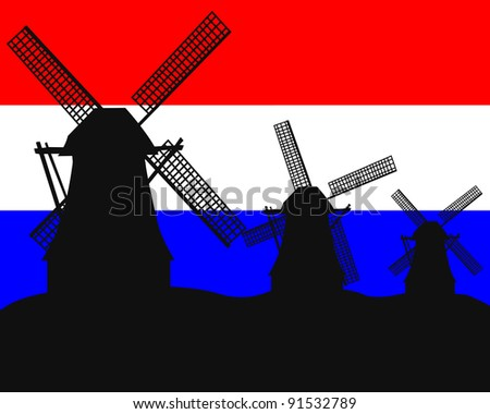silhouettes of windmills in the background of the Dutch flag - stock vector