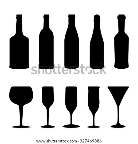 Silhouettes of wineglasses and bottles. - stock vector