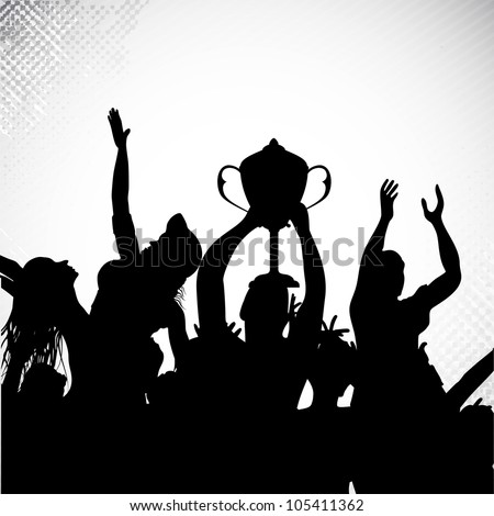 Silhouettes of winners team players with trophy and celebrating sports or business victory. EPS 10. - stock vector