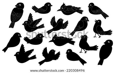 Silhouettes of winter birds - stock vector