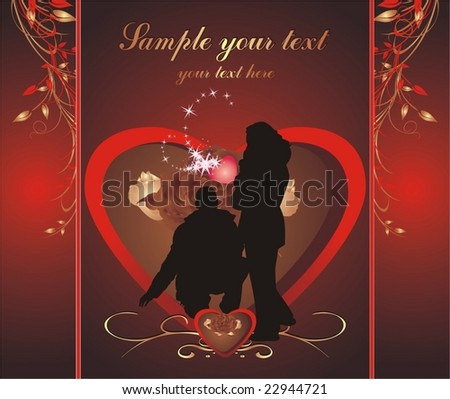 Silhouettes of woman and man. Romance composition. Wrapping for candies. Vector