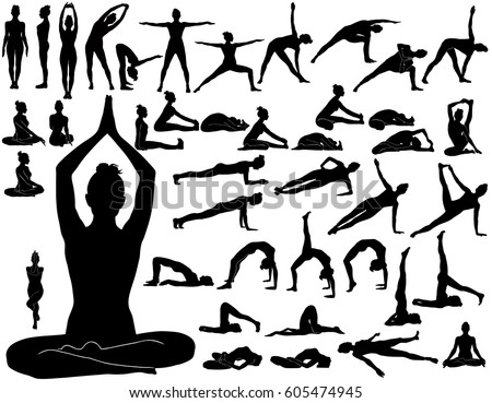 Silhouettes Of Woman Doing Yoga Exercises Icons Flexible Girl Stretching And Relaxing Her Body