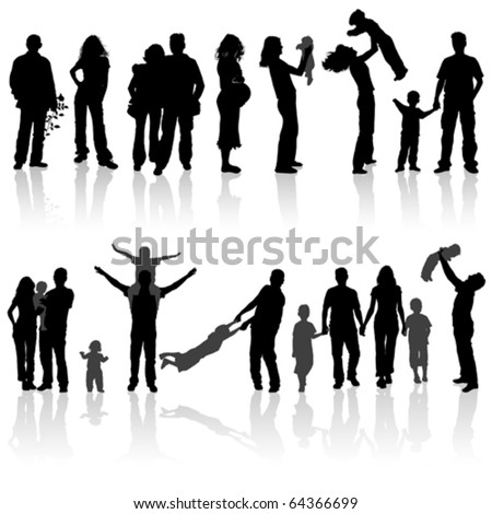 Silhouettes of woman, man, children, family, vector illustration - stock vector