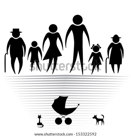 Silhouettes of woman man kid grandfather grandmother family, vector illustration. Element for design icon - stock vector