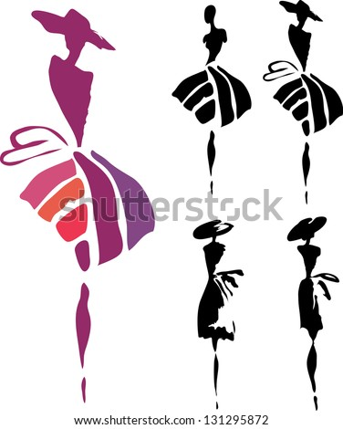 silhouettes of women in dresses and hats on a white background. Company logo design. - stock vector