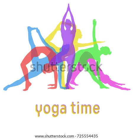 Silhouettes Of Yoga Girls Mixed Together For Banner Design Colored Vector Icons Woman