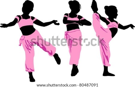 silhouettes of young girls in eastern dance poses - stock vector