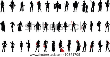 silhouettes (people) - stock vector