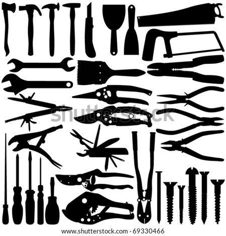 Silhouettes Vector of Construction Equipments, working Tools. A set of cute icon collection isolated on white background
