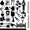 Silhouettes Vector of Shovels, Spades, Gardening tools, fence, grass. A set of cute icon collection isolated on white background - stock photo