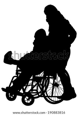 Silhouettes wheelchair and women on white background - stock vector