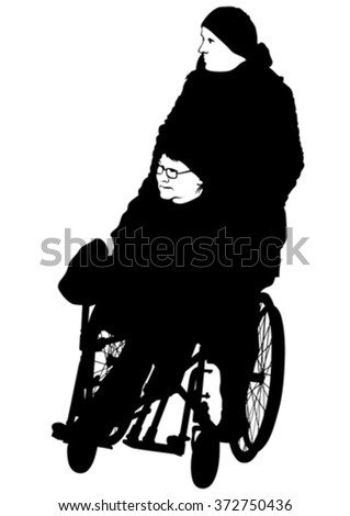 Silhouettes woman in wheelchair on white background - stock vector