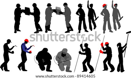 Silhouettes worker to building profession on transparent background - stock vector