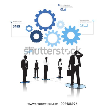 Silhouetts of Connected Business People and Gears - stock vector
