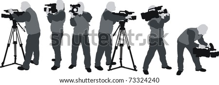 silhouttes of cameramen - stock vector