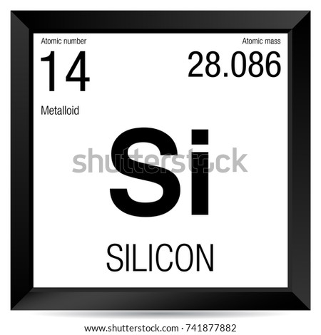 Silicon Symbol Element Number 14 Periodic Stock Vector 741877882