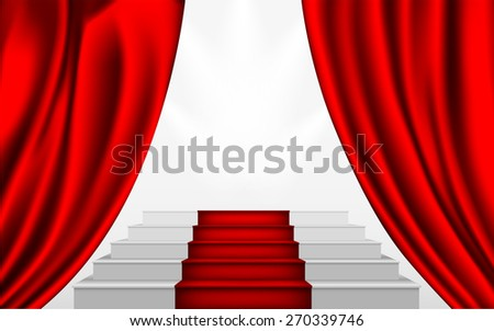 silk curtain and the stairs to the podium with a red carpet - stock vector