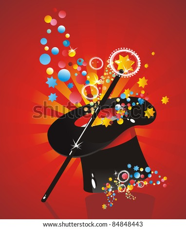 silk hat magician with a cane - stock vector