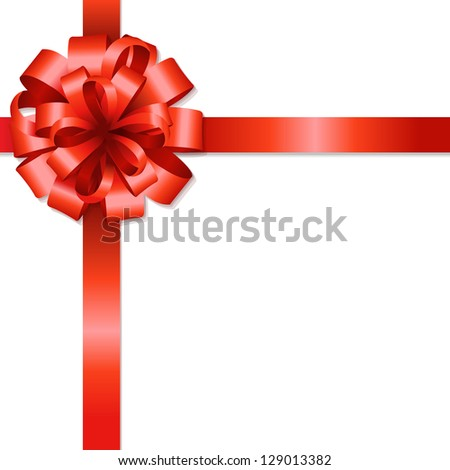 Silk Red Bow With Gradient Mesh, Isolated On White Background, Vector Illustration - stock vector
