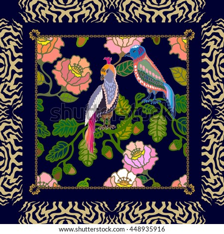Silk scarf pattern with flowers, oak leaves and birds. Chinese, Japanese, Korean motifs. Vintage textile collection. Black.