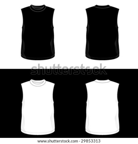 Silkscreen series. Black and white realistic blank t-shirt templates. See also V-neck, t-shirt and men's tank top illustrations. - stock vector