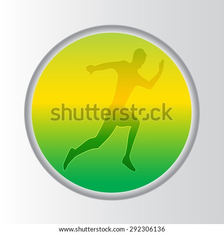 Sillhouette of running man with abstract background button green