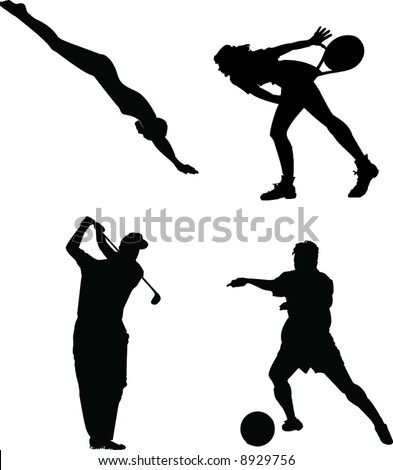 Sillhouettes of 4 Sports People. Swimming, Tennis, Golf, Soccer. - stock vector