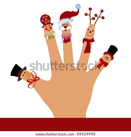 Silly puppet  hand waving  - christmas theme - stock vector