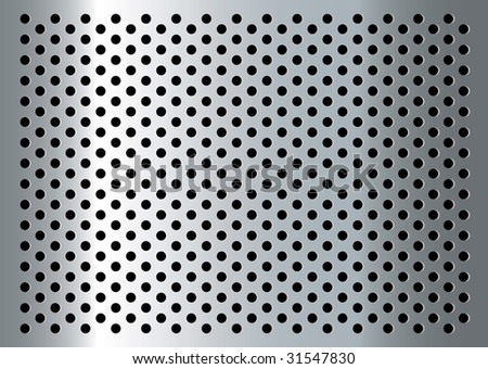 Silver abstract metal background with holes and light reflection