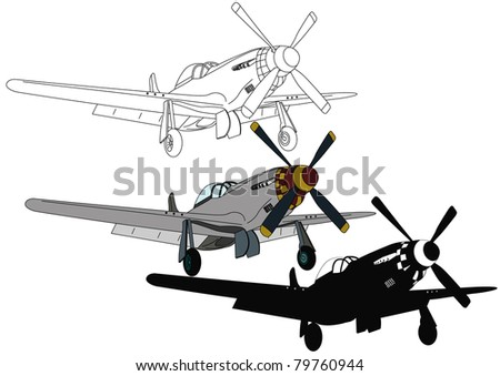 Silver aircraft with a propeller - stock vector