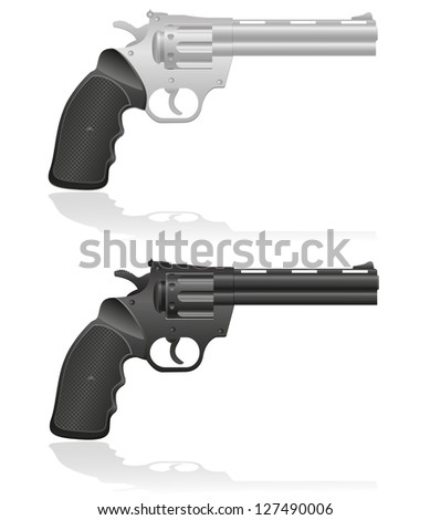 silver and black revolvers vector illustration isolated on white background - stock vector