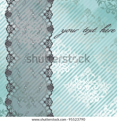 Silver and blue background with black lace (eps10); jpg version also available - stock vector