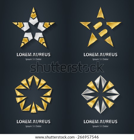 Silver and Gold star logo set. Award 3d icon. Metallic logotype template. Volume Vector illustration. - stock vector