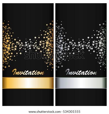 Silver Gold Stars Ribbons On Black Stock Vector 534301555 Shutterstock