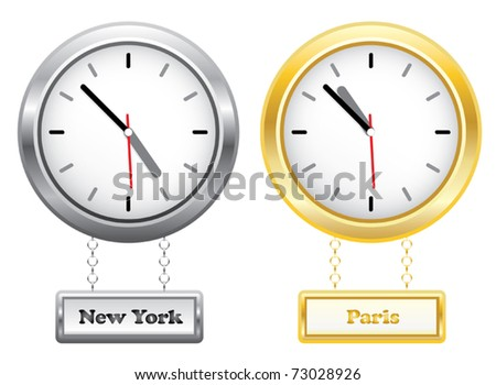 Silver and golden clocks showing time in New York and Paris - different time zones - vector illustration - stock vector