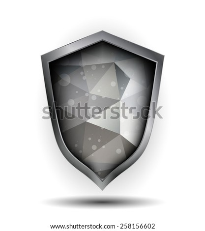 Silver and grey shield icon. Concept of defense, safety icon, crest shield, antivirus annex. Polygonal design vector illustration. - stock vector