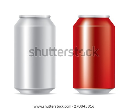 Silver and red cans - stock vector