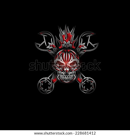 silver and red crest with skull,flame and spanners - stock vector