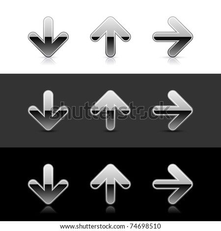 Silver arrow icon web 2.0 buttons with reflection and shadow on white, gray and black - stock vector