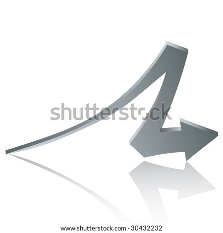 Silver arrow with reflection isolated on white background - vector - stock vector