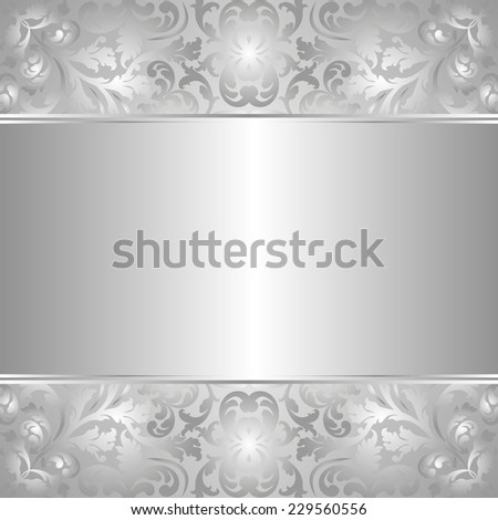silver background with abstract floral ornaments - stock vector